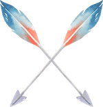 Double-Arrow-Red-Blue-Feathers-Pointing-Down